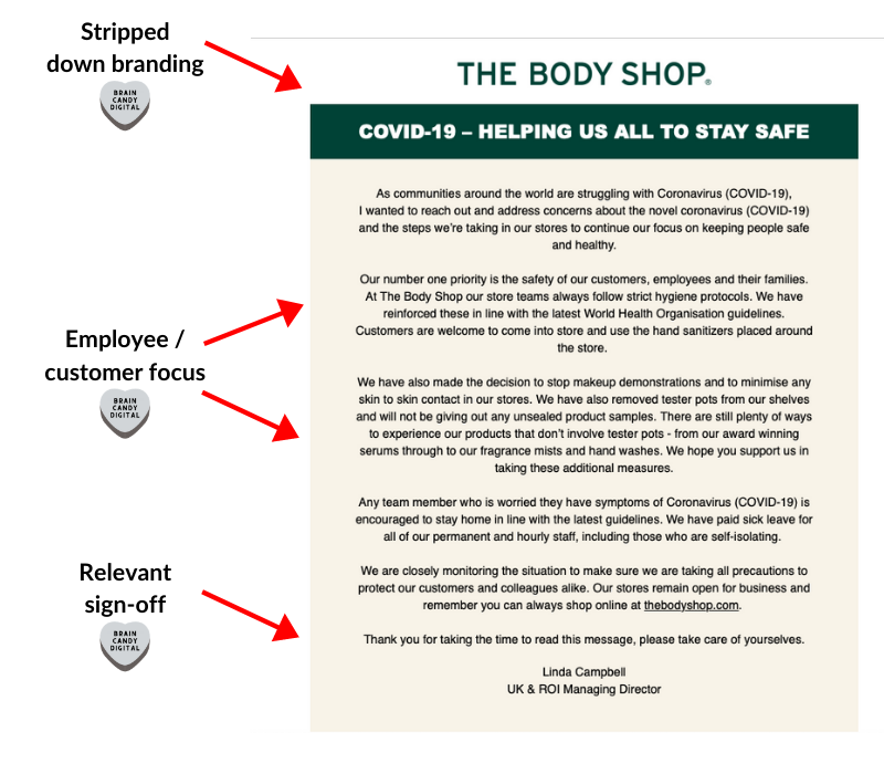 Coronavirus email from The Body Shop