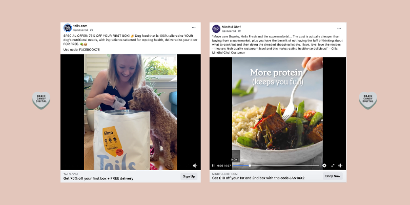 Social media advertising tips - two examples of ads with single objectives
