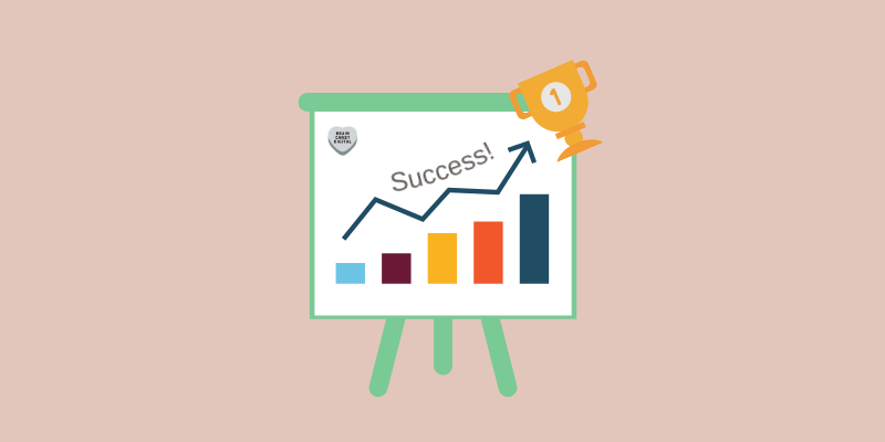 Social media advertising tips - a graphic showing graphs that lead to a gleaming trophy